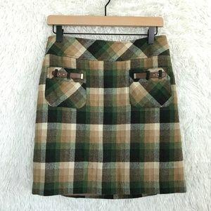 Wool Plaid Skirt Pockets Green Tan Loft
